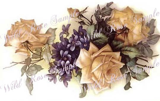 VinTaGe IMaGe XL ChiC YeLLoW RoSeS /& VioLeTs SHaBbY DeCALs ~FurNiTuRe SizE~